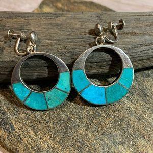 Turquoise Earrings 925 Sterling Hoops